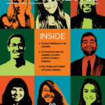 Fall 2020 Cover of Stay Connected showing portraits of student workers.